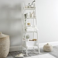 Bathroom Lacquer Ladder Shelf, White, One Size