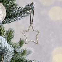 Beaded Star Christmas Decoration, Silver, One Size