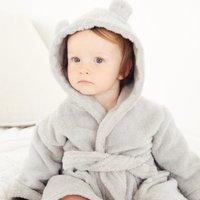 Bear Ears Baby Robe, Grey, 0-6mths