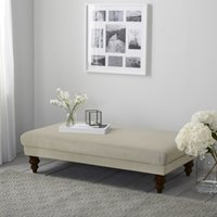 Beaufort Ottoman, Natural Oak Leg, Silver Cotton, One Size