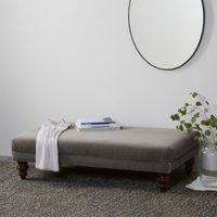 Beaufort Ottoman, Natural Oak Leg, Silver Grey Velvet, One Size