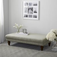 Beaufort Ottoman, Natural Oak Leg, Light Grey Wool, One Size
