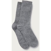 Bedsocks with Cashmere, Mid Grey Marl, One Size