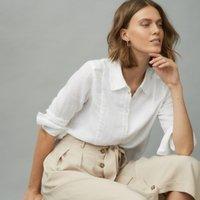 Bib Front Linen Shirt, White, 8