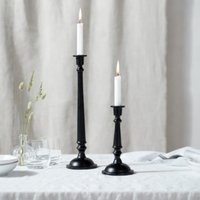 Black Tall Dinner Candlestick , Black, One Size