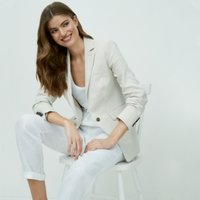 Blazer with Linen, Natural, 14