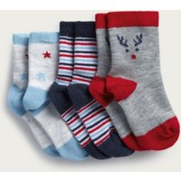 Blue Jingles Baby Socks - Set of 3, Blue, 0-6mths