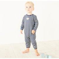Blue Stripe Knitted Romper, Blue Indigo, 0-3mths