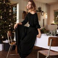 Boat-Neck Fit & Flare Dress, Black, 16