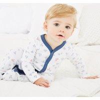 Boat Print Sleepsuit, White, Newborn
