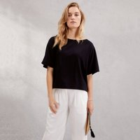 Boxy Wide Sleeve Top, Black, 14