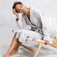 Brushed Cotton Flannel Robe, Grey, Medium