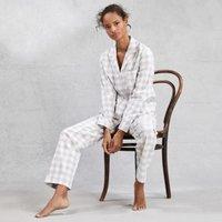 Brushed Cotton-Gingham Lurex Pyjama Set, Grey White, Large