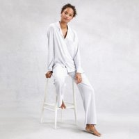 Brushed Cotton Stripe Pyjama Set, White Blue, Extra Small