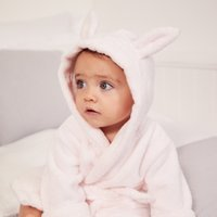 Bunny Ears Baby Robe, Pink, 6-12mths