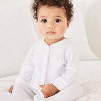 Bunny Embroidery Sleepsuit, White, 18-24mths