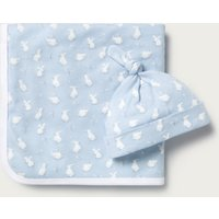 Bunny-Print Blanket & Hat Set, Blue, 0-6mths