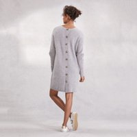 Button Back Dress With Wool , Mid Grey Marl, 10
