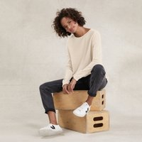 Button-Trim Jumper with Cotton , Champagne, 14