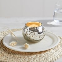 Chunky Bubbled Tealight Holder , Silver, One Size