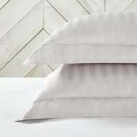 Cambridge Stripe Oxford Pillowcase with Border – Single, Silver, Super King