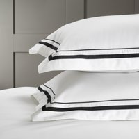 Cavendish Oxford Pillowcase with Border – Single, White/Black, Large Square