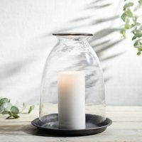 Domed Glass Large Candle Holder With Tray, Clear, One Size