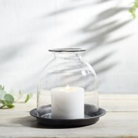 Domed Glass Medium Candle Holder With Tray , Clear, One Size