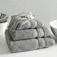 Classic Double Border Towel, Storm Grey, Bath Towel