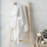 Satin-Edged Cellular Blanket, White, One Size
