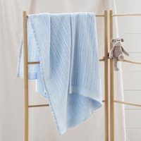 Satin-Edged Cellular Blanket, Blue, One Size