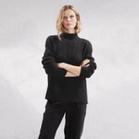 Cable Jumper with Cashmere , Black, Small