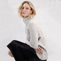 Cable Roll-Neck Jumper , Pale Grey Marl, Small