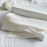 Cashmere Christening Baby Blanket, Porcelain, One Size