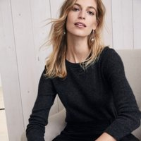 Cashmere Layering Jumper , Dark Charcoal Marl, Extra Small