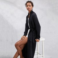 Cashmere Long Shawl Collar Robe, Dark Charcoal Marl, Small