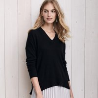 Cashmere Oversized V-Neck Jumper , Black, Medium