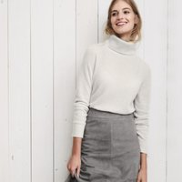 Cashmere Roll-Neck Jumper , Cloud Marl, Large