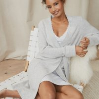 Cashmere Short Robe, Pale Grey Marl, Large