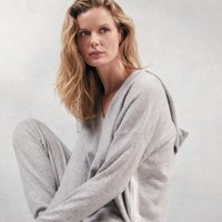 Cashmere Side Stripe Hoodie, Pale Grey Marl, Extra Large