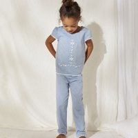 Chambray Embroidered Pyjamas (1-12yrs), Blue, 5-6yrs