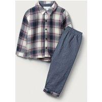 Checked Shirt & Trouser Set, Blue, 3-6mths