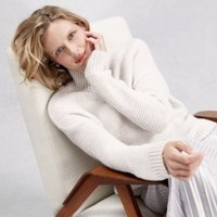 Chunky Garter Stitch Jumper with Alpaca, Winter White, Extra Small