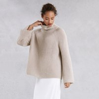 Collapse Neck Rib Jumper , Mink, Extra Small