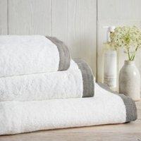 Colour Border Towel, White Charcoal, Super Jumbo