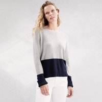 Colourblock Crew-Neck Jumper, Pale Grey Marl, 6