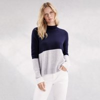 Colourblock Funnel-Neck Jumper with Cashmere , Midnight, 18