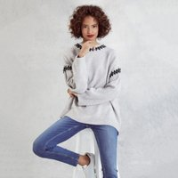Contrast Stitch-Detail Jumper with Alpaca, Pale Grey Marl, Extra Large