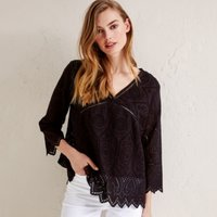 Cotton Broderie Top, Black, 8