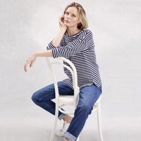 Cotton Button-Side Stripe Sweatshirt, Navy/White, 14